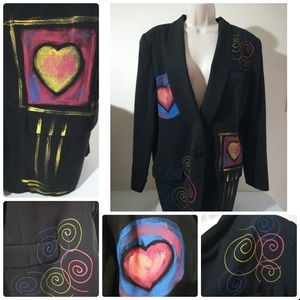 Vintage Handpainted Wool Jacket - Pls read